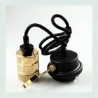 Závesné kovové svietidlo s držiakom pre zavesenie kábla, zlatá farba (2)