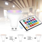 LED RGB žiarovka na diaľkové ovládanie, 16 funkcií, 8W, GU10 (1)