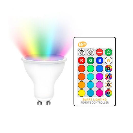 LED RGB žiarovka na diaľkové ovládanie, 16 funkcií, 8W, GU10 (2)
