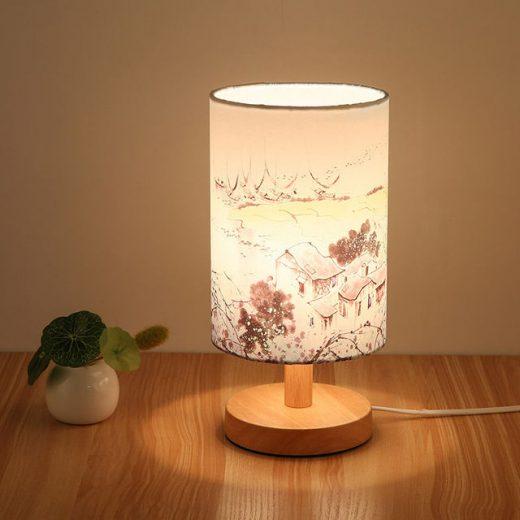 Stolová drevená lampa so spínačom a vzorom krajiny. Táto stolová lampa je vyrobená ručne z kvalitného dreva (2)