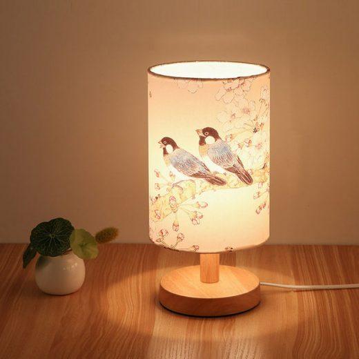 Stolová drevená lampa so spínačom a vzorom vtákov (2)