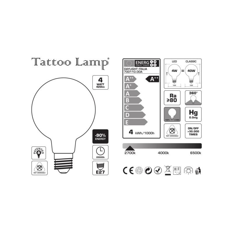 Tattoo Lamp® Žiarovky sú LED žiarovky, ktoré podliehajú špeciálnemu matnému spracovaniu