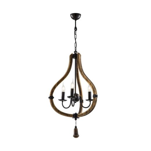 Drevené visiace svietidlo v starodávnom štýle BELLA,50cm (2)