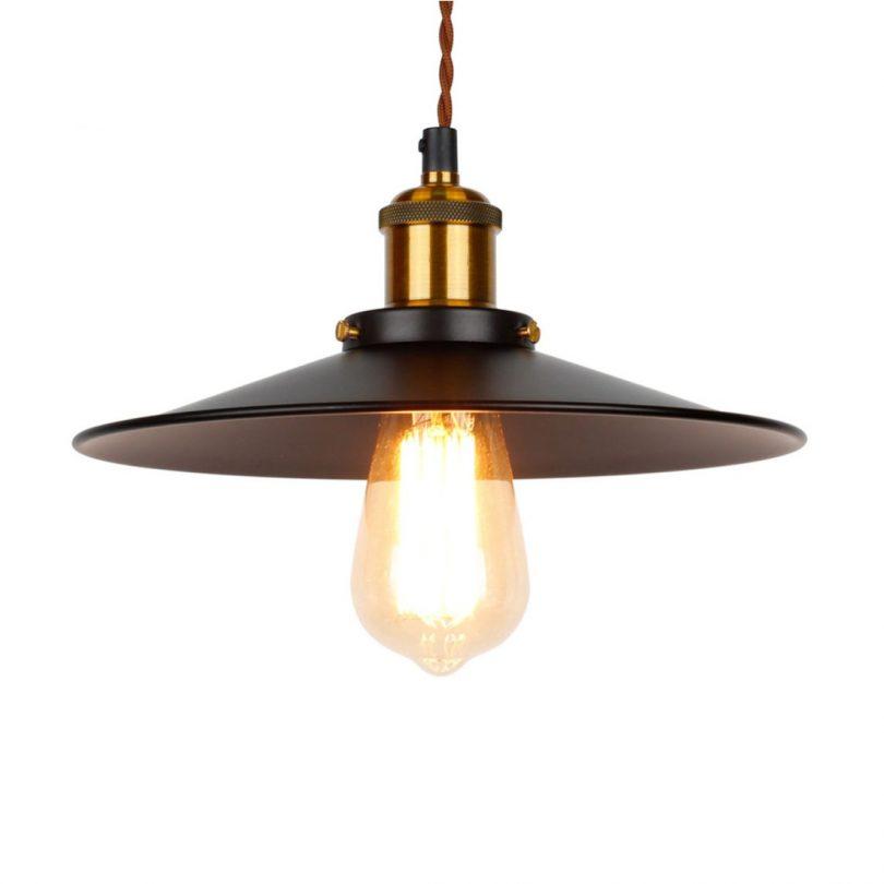 Historické závesné svietidlo s čiernym plytkým tienidlom, 260mm, pletený kábel (2)