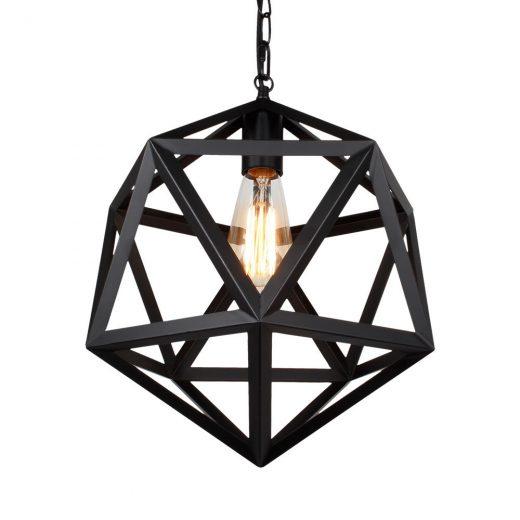 Kreatívne závesné svietidlo v tvare mnohouholníka, čierna farba (2)
