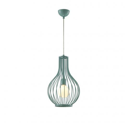 Moderné visiace svietidlo SERRA v tyrkysovej farbe. Svietidlo sa vyznačuje svojim celokovovým materiálom s tienidlom v tvare vázy.