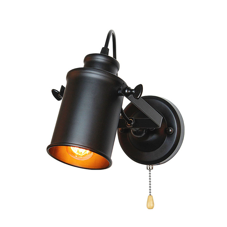 Retro nástenné svietidlo Reflector v čiernej farbe s retiazkovým spínačom