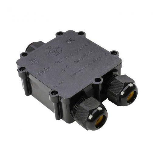 Vodotesná krabica so svorkovnicou 3 x 8-12mm, IP68, čierna farba