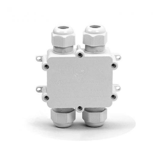 Vodotesná skrinka s upínacou základňou - priemer kábla 4 x (8-12 mm), IP68, biela farba