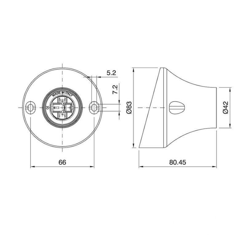 Šikmá stropná a nástenná objímka z termoplastu, E27, čierna farba (3)