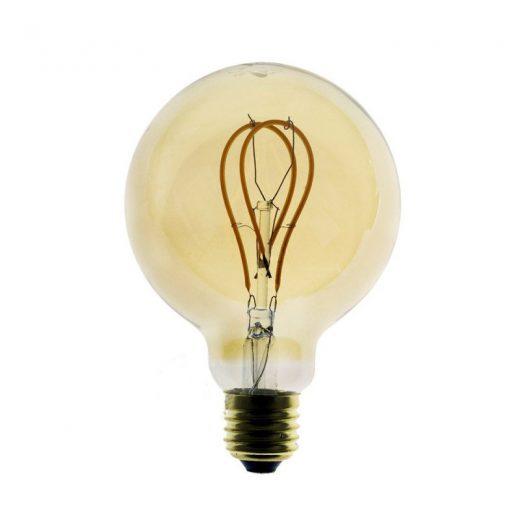 Edison Soft žiarovka, Jantárová LED žiarovka - GLOBUS - 5W, E27, Stmievateľná, 2000K (1)