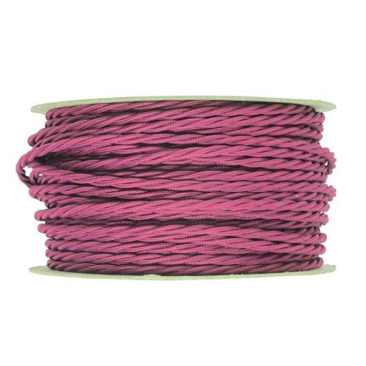 Kábel dvojžilový skrútený v podobe textilnej šnúry v tmavo ružovej farbe farbe, 2 x 0.75mm, 1 meter (2)