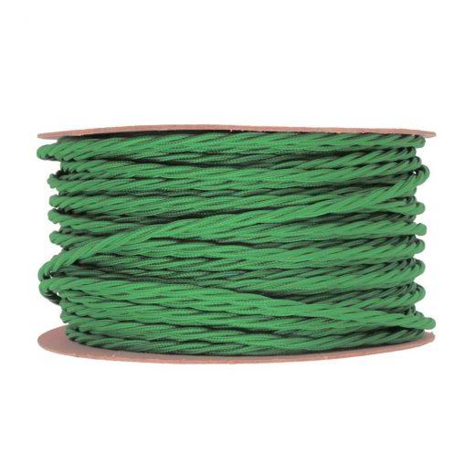 Kábel dvojžilový skrútený v podobe textilnej šnúry v tmavo zelenej farbe, 2 x 0.75mm, 1 meter (1)