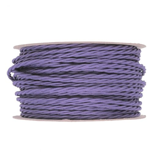 Kábel dvojžilový skrútený v podobe textilnej šnúry vo svetlo fialovej farbe, 2 x 0.75mm, 1 meter (1)