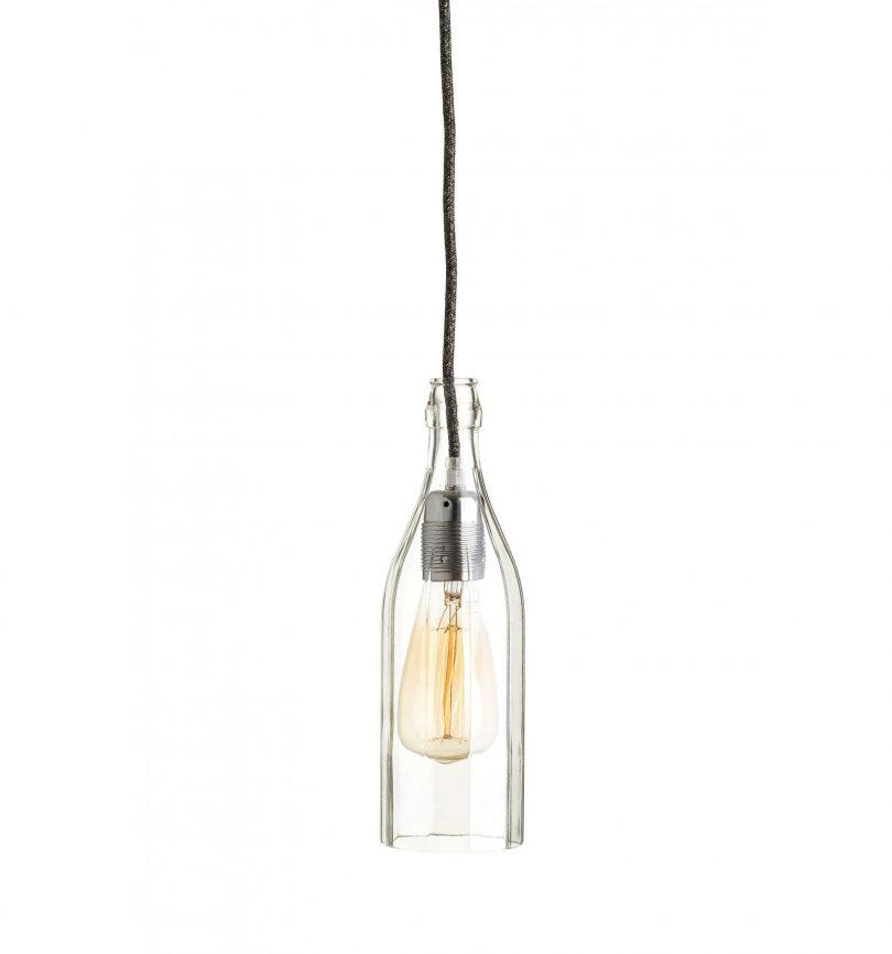 Stropné svietidlo Sklenená Fľaša v striebornej kombinácií (2)