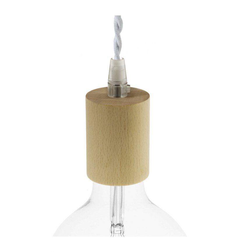 Drevená objímka E27 pre textilné káble, prírodná (3)