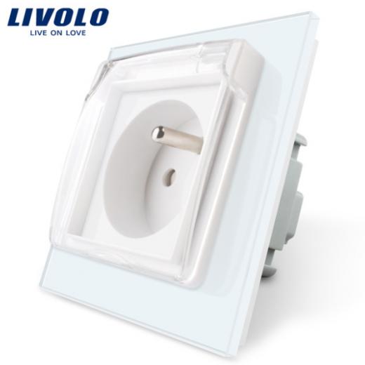 Luxusná exteriérová zásuvka s ochranným kolíkom a krytkou v bielej farbe
