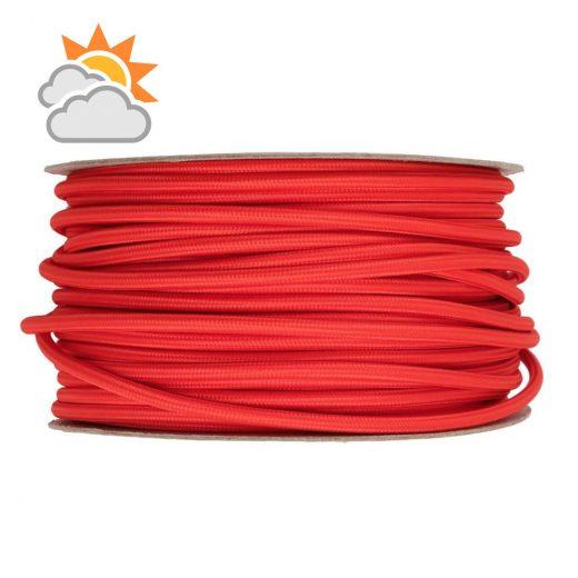 Kábel do exteriéru trojžilový v podobe textilnej šnúry v červenej farbe, 3 x 0.75mm, 1 meter (2)
