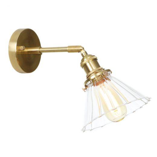 Nástenné sklenené svietidlo TRANSPARENT DECOR v zlatej farbe