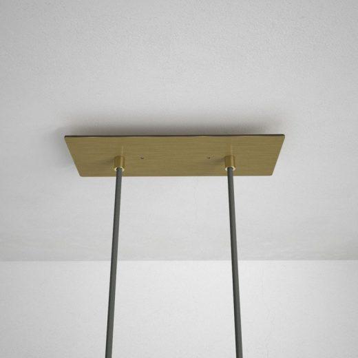 Obdĺžniková stropná rozeta, 30 x 12 cm s 2 otvormi, kovová, mosádzna farba (1)