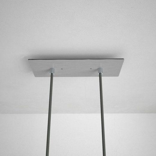 Obdĺžniková stropná rozeta, 30 x 12 cm s 2 otvormi, kovová, oceľová lesklá farba (2)