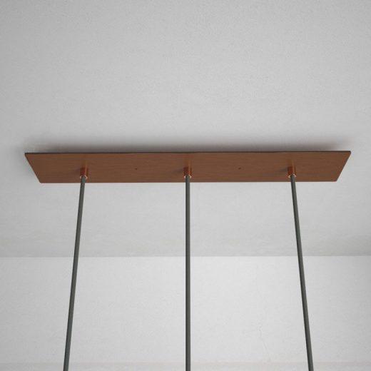 Obdĺžniková stropná rozeta, 60 x 12 cm s 3 otvormi, kovová, medená farba (3)