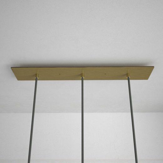 Obdĺžniková stropná rozeta, 60 x 12 cm s 3 otvormi, kovová, mosádzna farba (1)