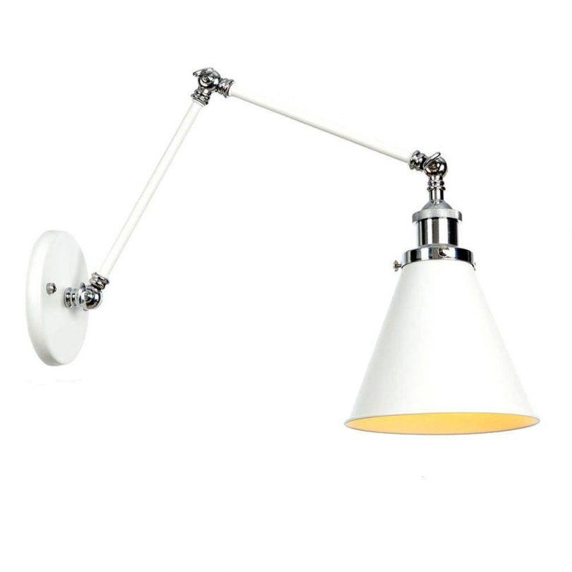 Retro nástenná lampa Shadeness v bielej farbe