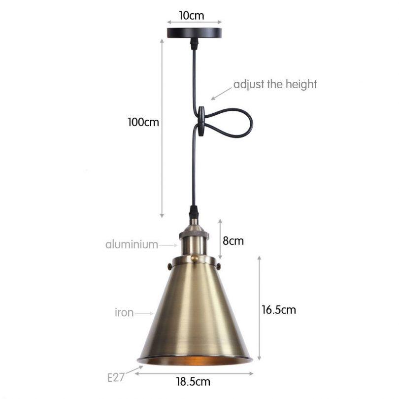 Svietidlo DEEP s nastaviteľnou výškou kábla v staromosádznej farbe (1)