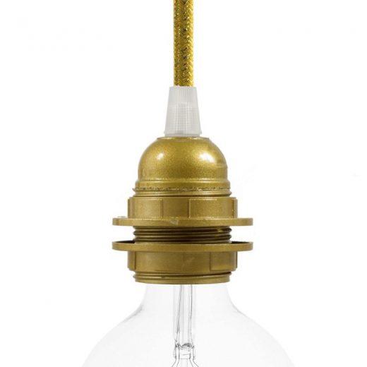 E27 hladká objímka z bakelitu pre použitie tienidla, farbená zlatá