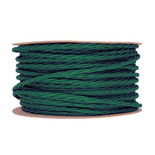 Kábel dvojžilový skrútený v podobe textilnej šnúry v tmavo zelenej farbe, 2 x 0.75mm, 1 meter