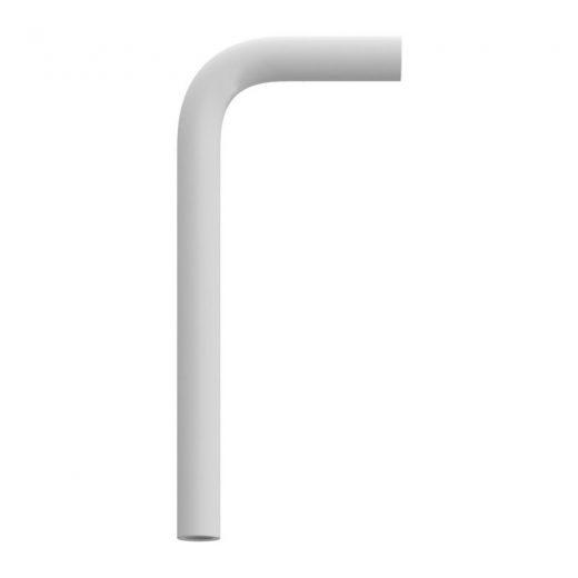 Kovová predlžovacia rúrka ohnutá v bielej farbe