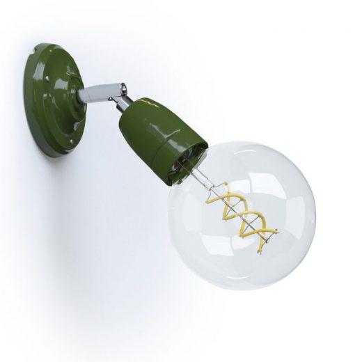 Porcelánové nástenné a stropné svietidlo s nastaviteľným sklonom v zelenej farbe