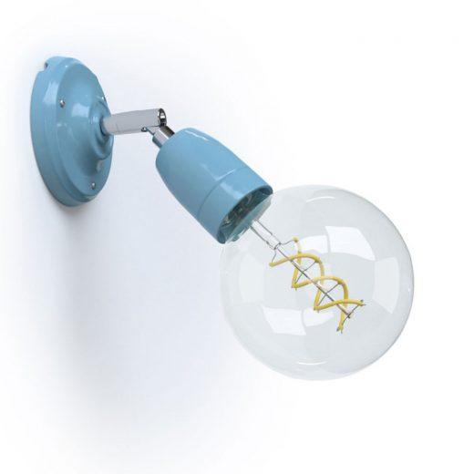 Porcelánové nástenné a stropné svietidlo s nastaviteľným sklonom vo svetlo modrej farbe