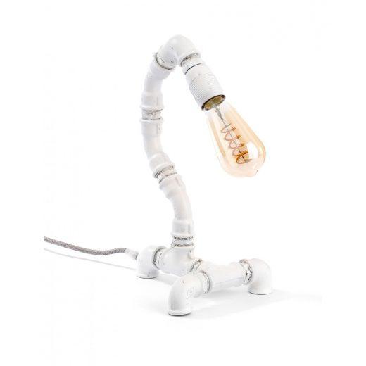 Starožitná stolová lampa v priemyselnom štýle so stmievačom, biela farba.