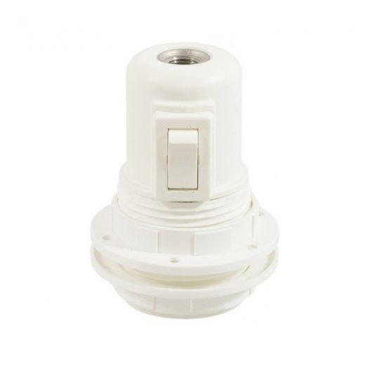 Termoplastová objímka E27 s vypínačom a krúžkami pre tienidlo v bielej farbe-