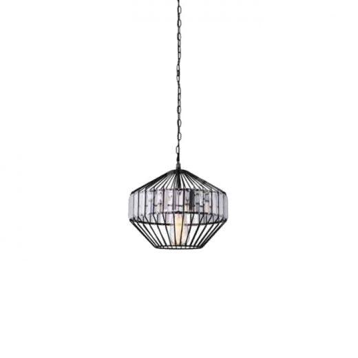 Závesné kovové svietidlo s kryštálmi, 33 x 30cm