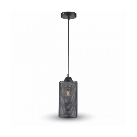 Závesné retro svietidlo s klietkou v čiernej farbe