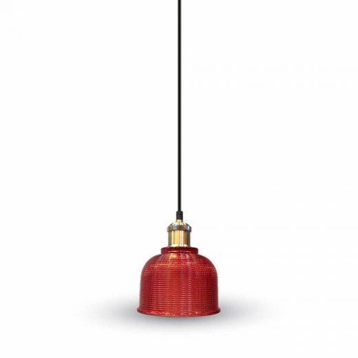 Závesné svietidlo s červeným skleneným tienidlom