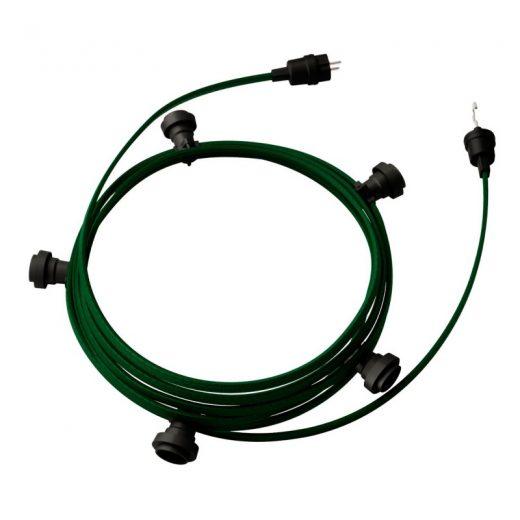 Exteriérová svetelná reťaz s tmavo zeleným textilným káblom, Dĺžka 7.5 metrov