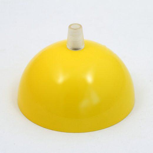 Kovová stropná rozeta s priemerom 10 cm, žltá farba.