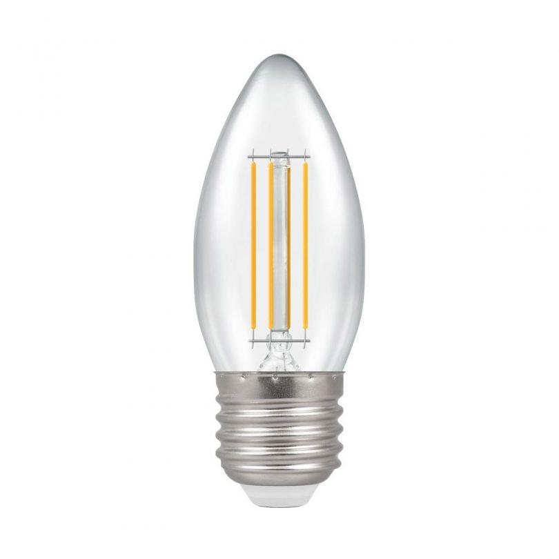 FILAMENT žiarovka - CANDLE - E27, 4W, 280lm, Teplá biela s čírym povrchom. Energeticky úsporná 2800K teplá biela LED žiarovka s LED