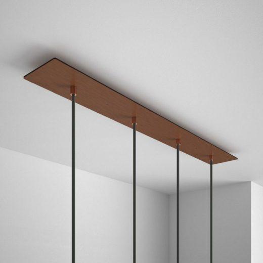Obdĺžniková stropná rozeta, 90 x 12 cm so 4 otvormi, kovová, medená farba