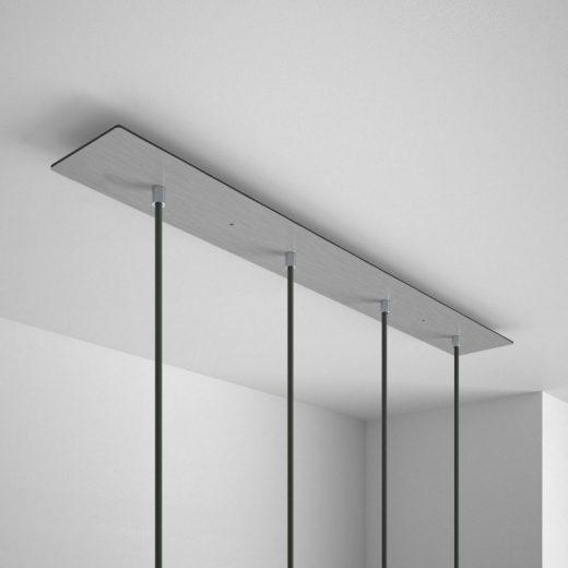 Obdĺžniková stropná rozeta, 90 x 12 cm so 4 otvormi, kovová, oceľová lesklá farba