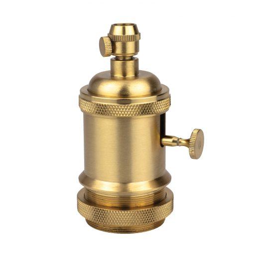 Vintage objímka s otočným spínačom, E27, zlatá matná farba