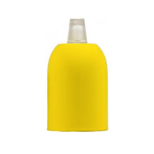 Žltá kovová krytka + E27 čierna objímka + 1 priehľadný držiak kábla