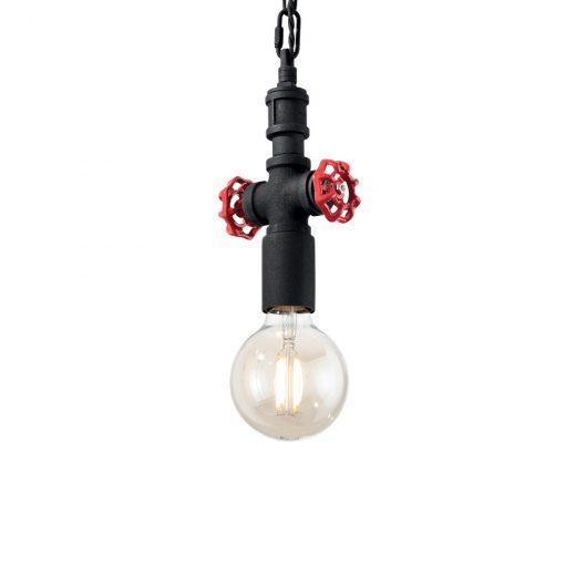 Retazové závesné svietidlo v tvare priemyselného potrubia PLUMBER SP1 v čiernej farbe