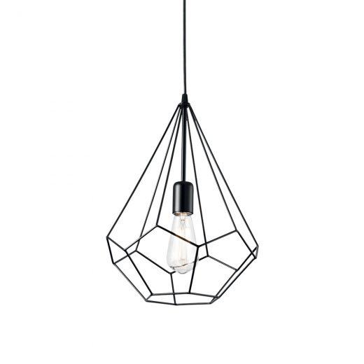 Závesné kovové svietidlo s klietkou AMPOLLA-3 SP1 v čiernej farbe | Ideal Lux