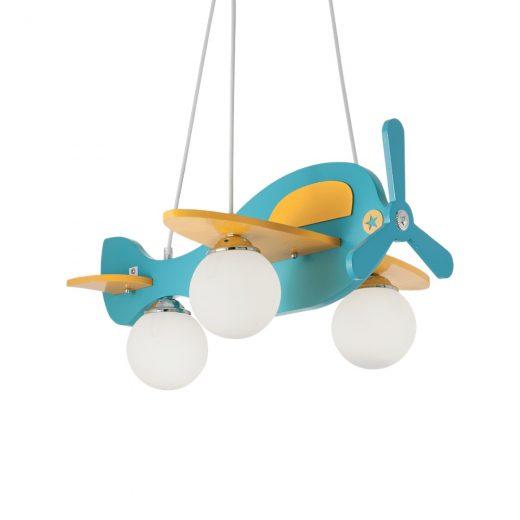 Detské závesné svietidlo z dreveného materiálu v modrej farbe | Ideal Lux