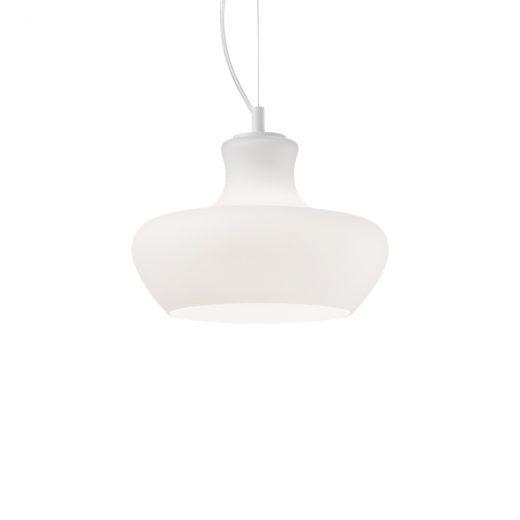 Dizajnové sklenené svietidlo ALADINO SP1 D30 s bielym tienidlom | Ideal Lux